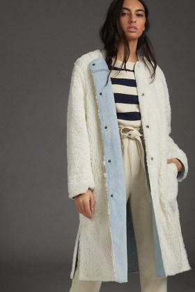 Pilcro Reversible Sherpa Denim Duster Coat / casual luxe coats / textured faux shearling fur
