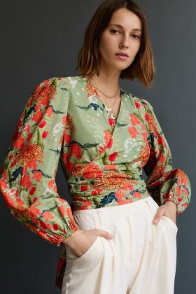 Conditions Apply Wrap-Front Blouse / green open back floral blouses - flipped