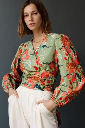 Conditions Apply Wrap-Front Blouse / green open back floral blouses