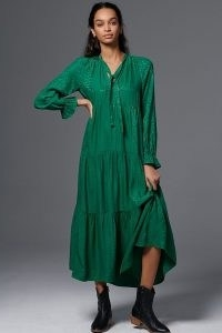Maeve Wendy Tiered Maxi Dress / green relaxed fit dresses