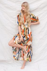 Maeve Suzannah Graphic-Print Maxi Dress / long multicoloured dresses