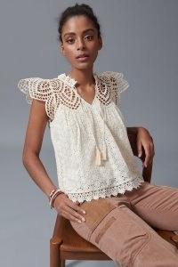 Blue Tassel Charlize Scalloped Lace Blouse / feminine cut out blouses