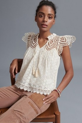 Blue Tassel Charlize Scalloped Lace Blouse / feminine cut out blouses - flipped