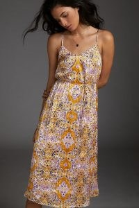 ANTHROPOLOGIE Blooms Dress Gold / cami strap dresses