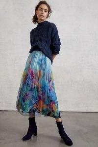 Maeve Chrysanthe Tulle Midi Skirt | floral sheer overlay skirts