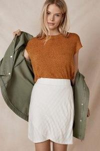Anthropologie Brunswick Knitted Mini Skirt | stylish knits | pull on wrap style skirts