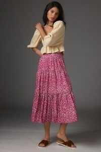 Anthropologie Marcella Tiered Midi Skirt Pink Combo