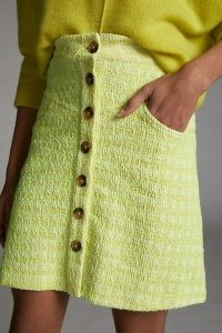 Maeve Candace Textured Mini Skirt Yellow