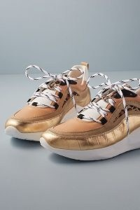 Anthropologie Animal Print Chunky Low-Top Trainers Gold | sports luxe shoes