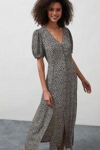 ANTHROPOLOGIE Sammie Ditsy Floral Print Midi Dress / split hem dresses