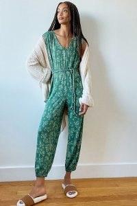 ANTHROPOLOGIE Weekend Sleep Jumpsuit Green Motif / sleepwear / loungewear / lounge all-in-one