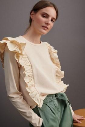 ANTHROPOLOGIE Karina Ruffled Sweatshirt Peach / cotton ruffle trim top - flipped