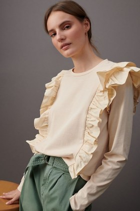 ANTHROPOLOGIE Karina Ruffled Sweatshirt Peach / cotton ruffle trim top