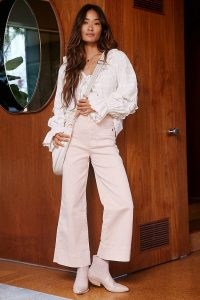 Maeve Rosanna Ultra High-Rise Wide Jeans Pink / pastel denim