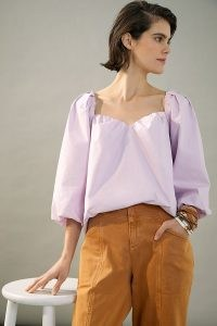 Mare Mare x Anthropologie Janine Sweetheart Blouse Lavender ~ balloon sleeve blouses