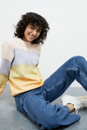 ANTHROPOLOGIE Kendal Striped Sweatshirt / tie dye colour block sweatshirts - flipped