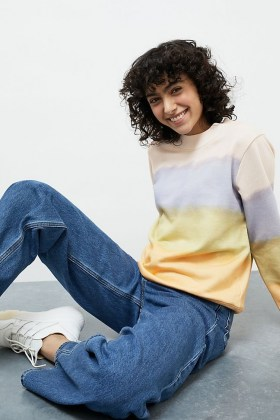 ANTHROPOLOGIE Kendal Striped Sweatshirt / tie dye colour block sweatshirts