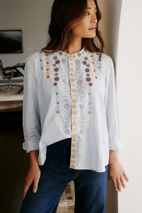 Pilcro The Whitney Beaded Trapeze Buttondown / striped shirts / floral embroidery - flipped