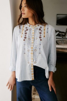 Pilcro The Whitney Beaded Trapeze Buttondown / striped shirts / floral embroidery