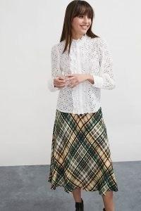 ANTHROPOLOGIE Checked Bias Midi Skirt Green