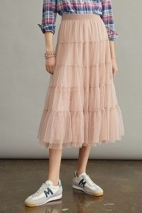 Anthropologie Serena Tiered Tulle Midi Skirt in Rose | pale pink sheer overlay dobby spot skirts