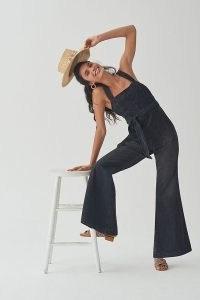 Pilcro Flared Denim Jumpsuit Black | sleeveless square neck jumpsuits | flared hems