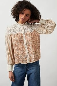 ANTHROPOLOGIE Jenny Patchwork Lace Blouse ~ feminine mixed print blouses