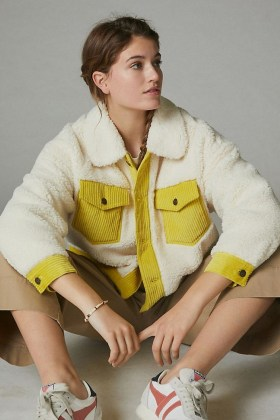 ANTHROPOLOGIE Leslie Corduroy-Trimmed Sherpa Jacket / cream faux shearling jackets / textured outerwear - flipped