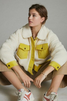 ANTHROPOLOGIE Leslie Corduroy-Trimmed Sherpa Jacket / cream faux shearling jackets / textured outerwear