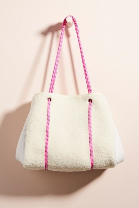 ANTHROPOLOGIE Annie Faux-Sherpa Tote Bag / textured shearling look bags - flipped