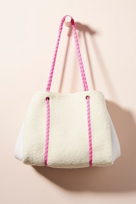 ANTHROPOLOGIE Annie Faux-Sherpa Tote Bag / textured shearling look bags