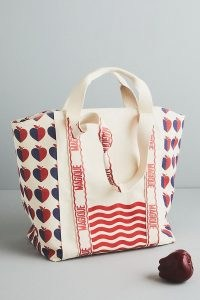 Hotel Magique for Anthropologie Love and Magique Tote Bag / apple printed bags / fruit prints / apples / hearts