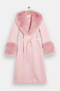 TOPSHOP Baby Pink Faux Fur Trim Coat ~ glamorous winter coats