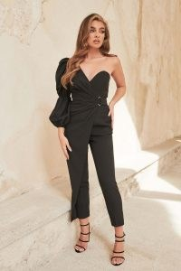 LAVISH ALICE balloon one sleeve wrap jumpsuit in black ~ glamorous one shoulder jumpsuits