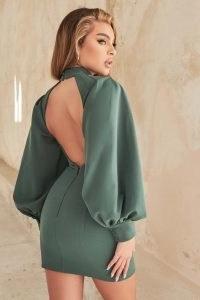 LAVISH ALIVE balloon sleeve open back mini dress in deep pine ~ green high neck open back dresses