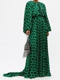 HALPERN Balloon-sleeve polka-dot satin gown / large spot print gowns in green