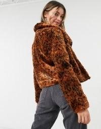 BB Dakota leopard faux fur coat in rust | animal print winter jackets