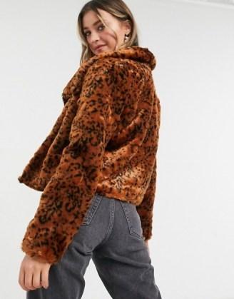 BB Dakota leopard faux fur coat in rust   animal print winter jackets - flipped