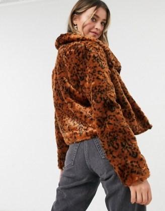 BB Dakota leopard faux fur coat in rust   animal print winter jackets