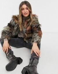 BB Dakota patch my drift faux fur coat in tan | retro winter coats | 70s vintage look shaggy jacket