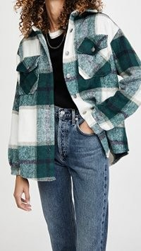 BB Dakota Plaid Shirt Jacket Evergreen ~ green checked shacket