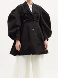 SIMONE ROCHA Beaded balloon-sleeve cotton-drill evening coat | volume sleeved occasion coats | evening outerwear