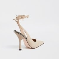 RIVER ISLAND Beige ankle tie court heels / high heel court shoes