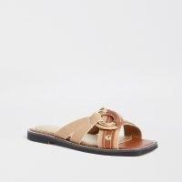 River Island Beige cross strap sandals | neutral slides