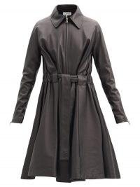 LOEWE Belted black-leather flared coat
