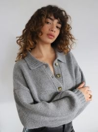 Reformation Belvedere Oversized Sweater | grey sweaters with collars | drop shoulder jumper