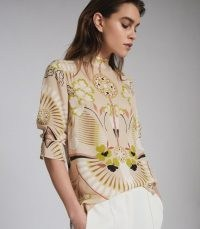 REISS BETH PRINTED HIGH NECK BLOUSE NEUTRAL ~ beautiful floral prints