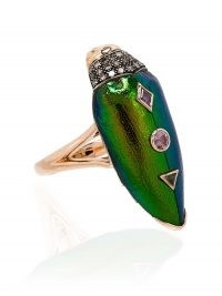 Bibi van der Velden 18kt rose gold scarab cocktail ring / luxe statement rings