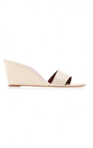 Staud Billie 75mm Leather Wedges ~ white snake effect wedge sandals - flipped