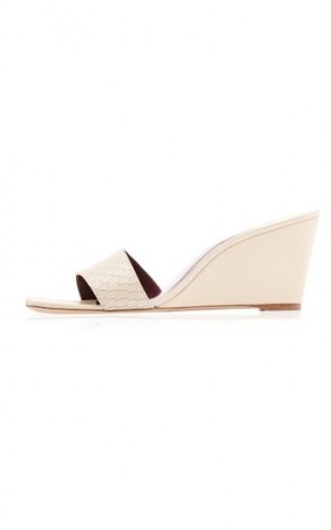 Staud Billie 75mm Leather Wedges ~ white snake effect wedge sandals